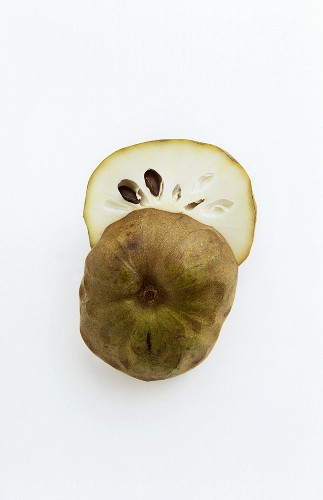 Halved Cherimoya on White