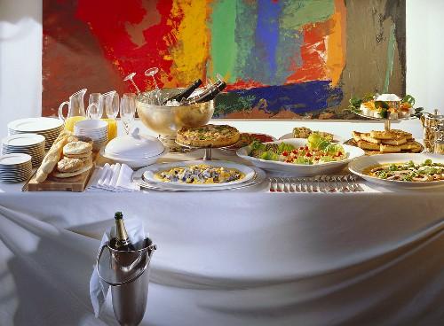 Champagne breakfast with shrimp quiche & salads