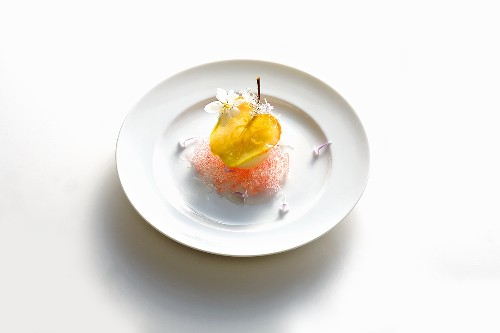 Quince & raspberry sorbet with apple slice & apple blossom