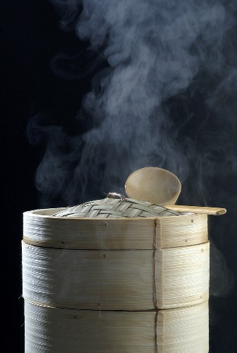 Steaming bamboo baskets