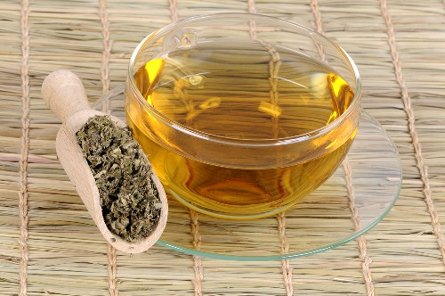 A cup of tea made with dried Chinese mugwort