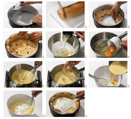 Making raspberry yoghurt cake