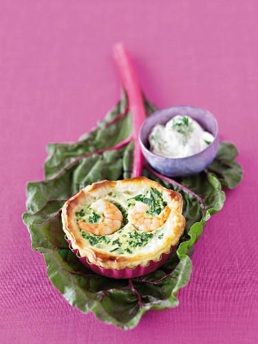 Chard quiche with king prawns