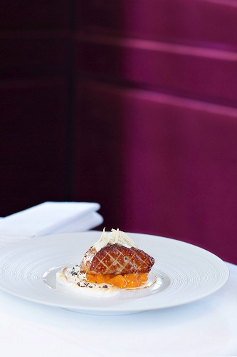 Foie gras with honey, almonds and amaretto apricots