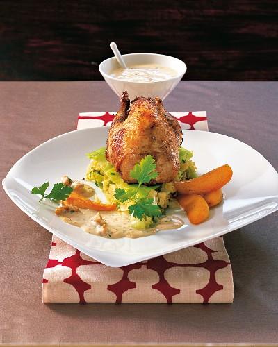 Roast partridge on sautéed pointed cabbage
