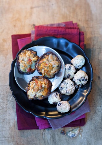 Christmas biscuits: rum and raisin balls and Florentines