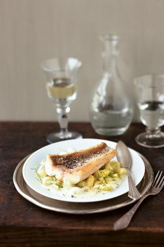 Danube sheatfish with braised gherkins