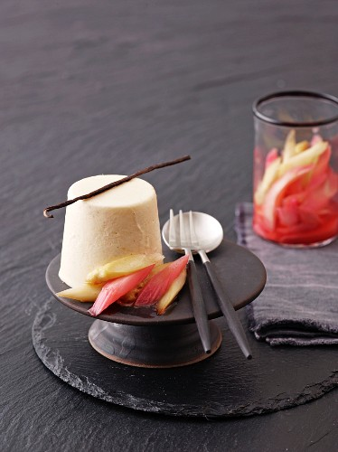 Vanilla parfait with caramelised rhubarb and asparagus compote