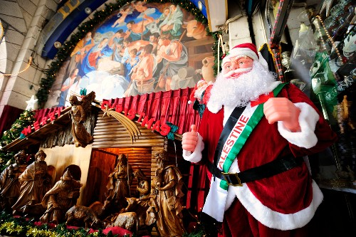 Toy Santa Claus at tourists store in Bethlehem, Israel