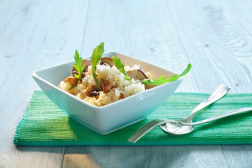 Wild mushroom risotto with rocket