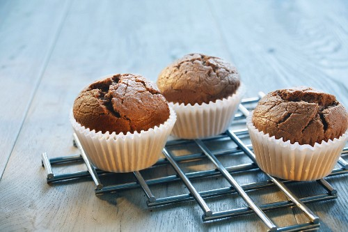 Chocolate muffins on a trivet