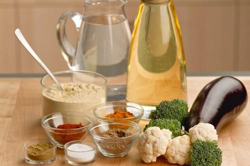 Ingredients for pakoras (battered vegetables, India)