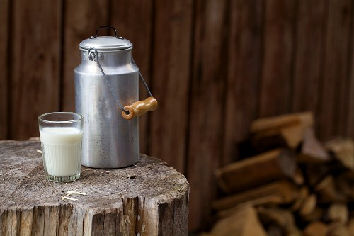 A milk churn and a milk glass on a rustic wooden block