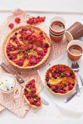 Summer berry and pear tartlets