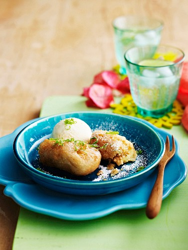 Bananas in batter with nut filling