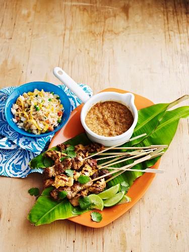 Satay skewers with vegetable fried rice