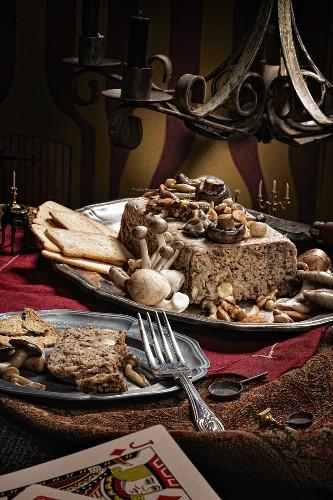 Almond, walnut and mushroom terrine