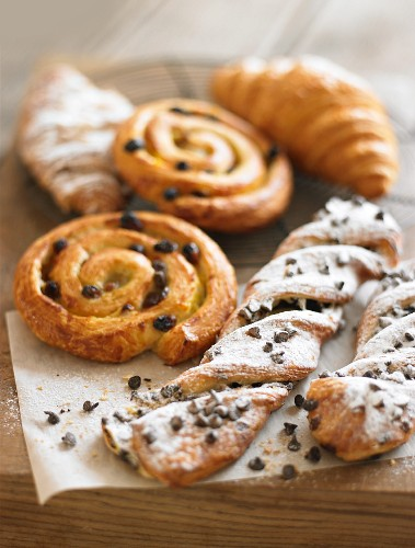 Raisin whirls, croissants and chocolate-chip puff pastry twists