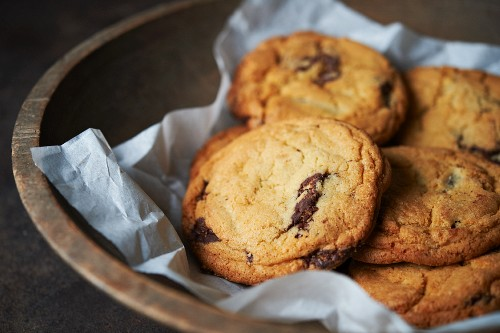 Chocolate Chip Cookies in a Wooden Bowl