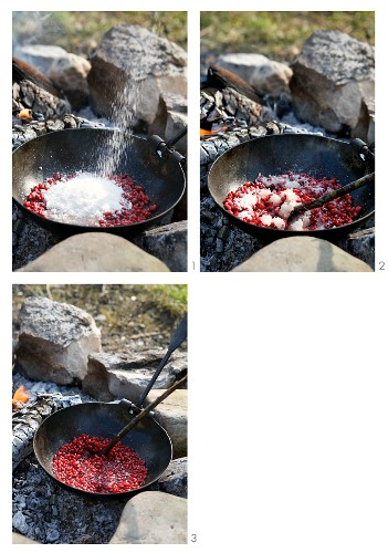 Stewed barberries being prepared on an open fire