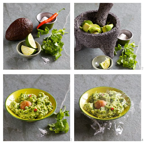 Guacamole being prepared