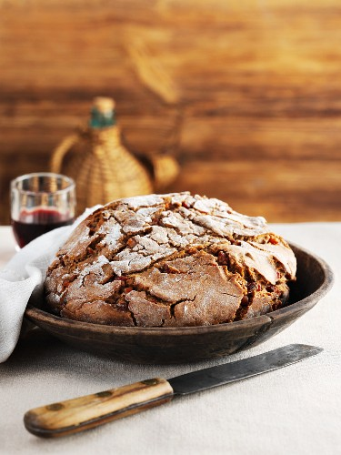 Rustic chestnut and bacon bread