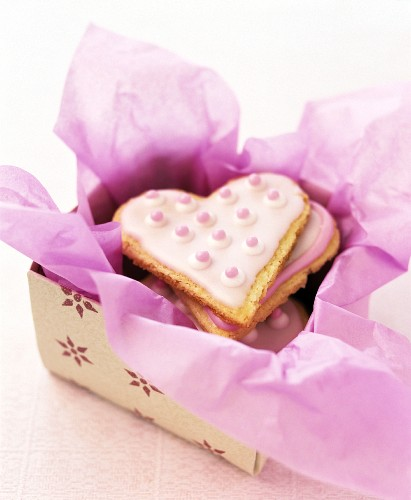 Heart-shaped cookies in a box