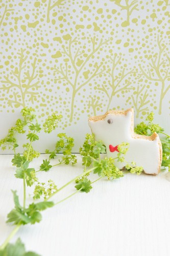 A dog-shaped biscuit with lady's mantle against a light green patterned wall