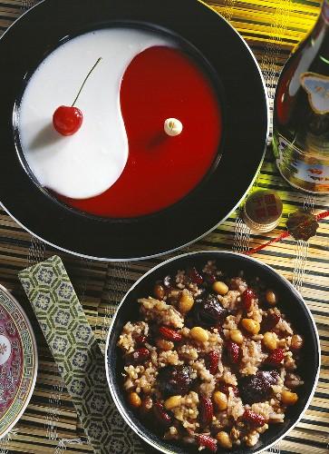 Sweet Yin-Yang Jelly and Rice Pudding