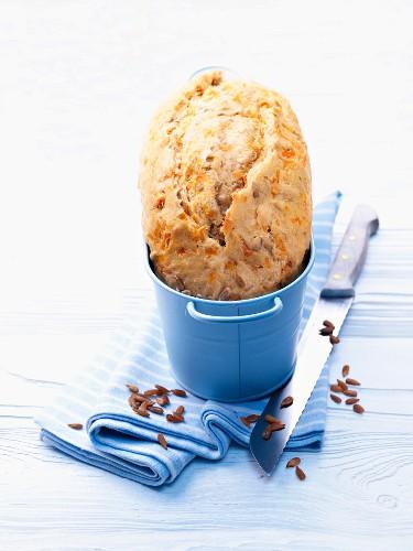 Carrot bread in a blue bucket