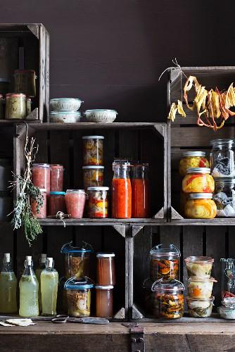 Preserves: jam, mushrooms and vegetables