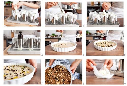 Castagnaccio (chestnut cake, Tuscany, Italy) being prepared