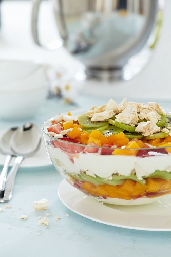 A layered dessert of fresh fruit and quark cream