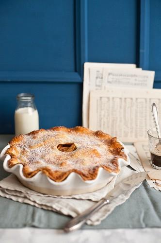 Apple pie in baking dish