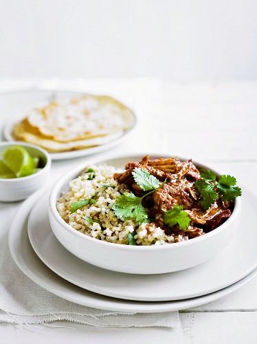 Chicken mole with rice and coriander (Mexico)