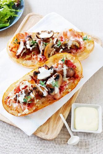 Pide with pancetta, mushrooms, mayonnaise and Dijon mustard