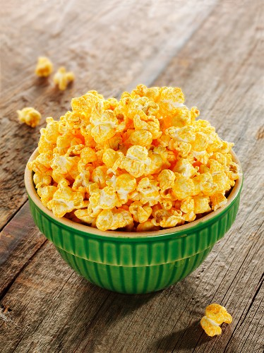 Bowl of Cheese Flavored Popcorn