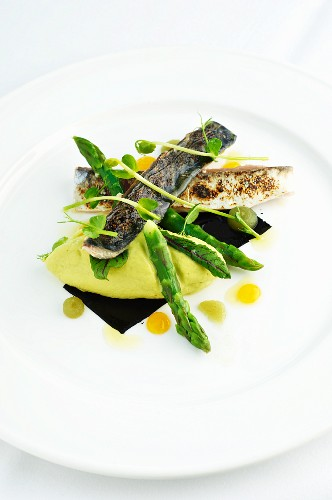 Grilled mackerel with green asparagus and pea purée