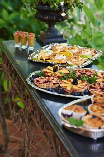 Trays of Baked Goods Set out for a Brunch Buffet