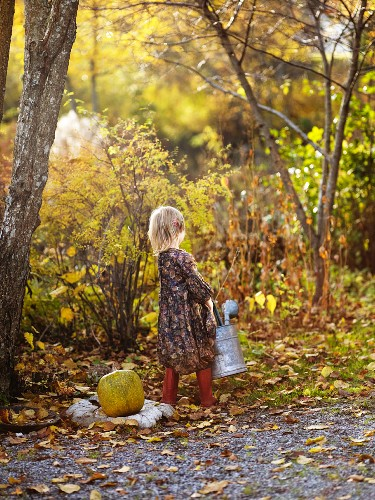 Little girl with watering can in autumnal garden