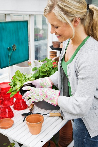 Woman potting on plants