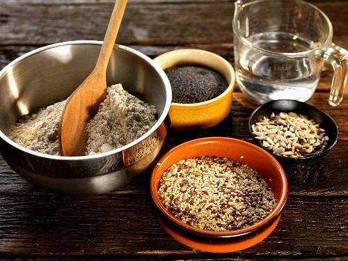 seeded bread ingredients, whole grain flour, poppy seeds, sunflower seeds, linseed, sesame seeds