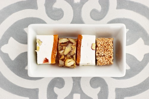 Persian sweets in a rectangular dish