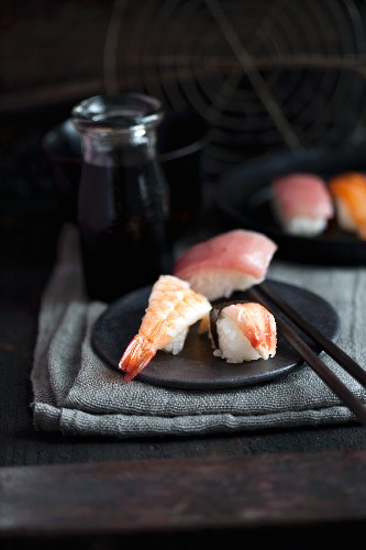 Nigiri sushi with prawns, crab and tuna