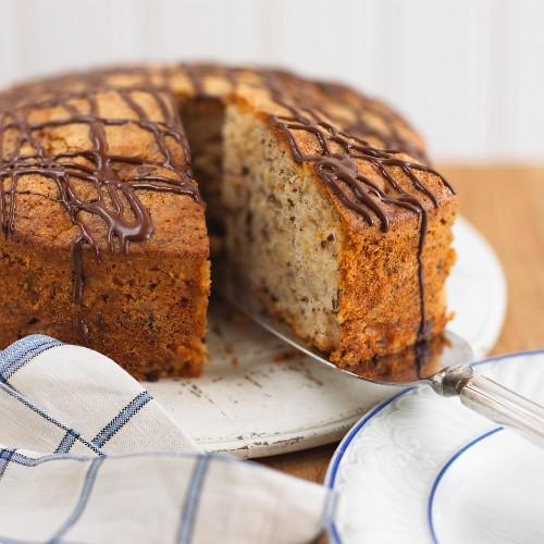 Hazelnut-chocolate cake, sliced