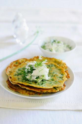 Pancakes with wild garlic and quark