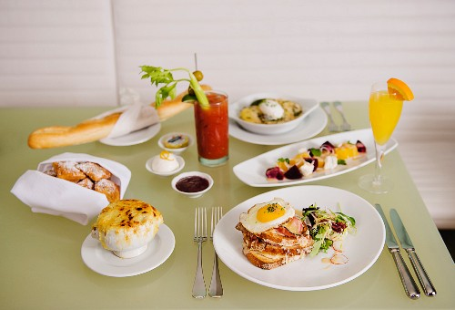 Brunch with French dishes and two drinks