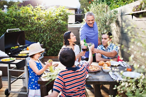 Family toasting each other at table outdoors