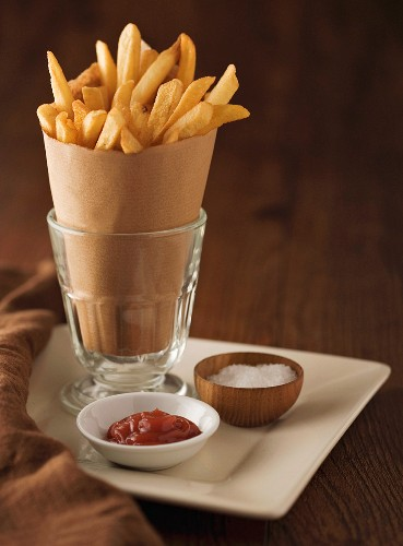 Fancy French Fries with Catsup and Salt