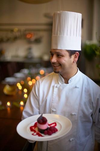 Chef with Gourmet Dessert
